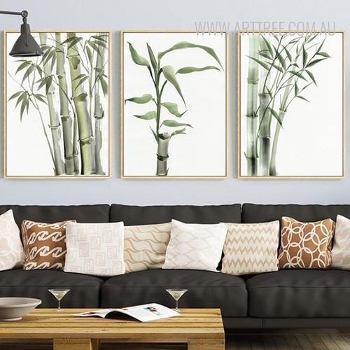 Green Bamboo Plant Wall Art Set