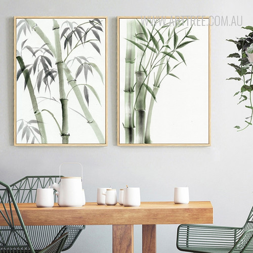 Green Bamboo Plant Canvas Art