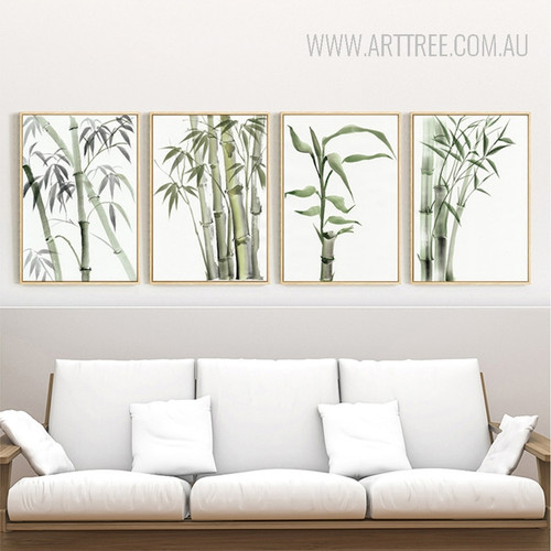 Long Green Bamboo Plant Wall Art Set