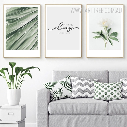 Love is You Happiness Always Plant Life Quotes Art Set