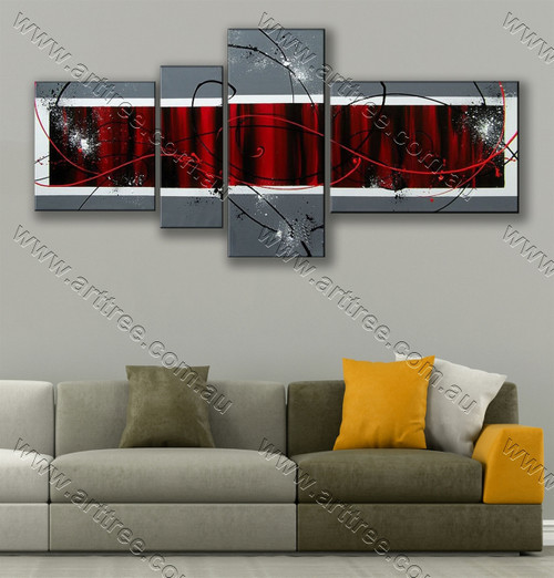 multi panel wall painting Red & Black