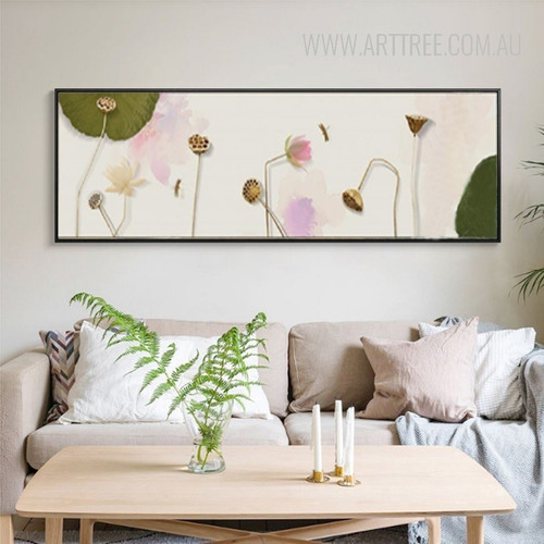 Watercolor Lotus Mood Floral Canvas Painting Print