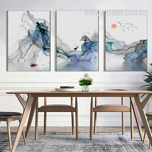 Abstract Sunrise Landscape Wall Art Canvas Painting Prints