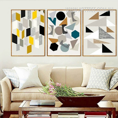Abstract Geometric Symbols Circles Triangles Digital Artwork