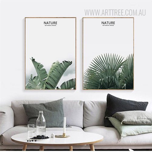 Nature Botanical Mood Green Leaf Art Set