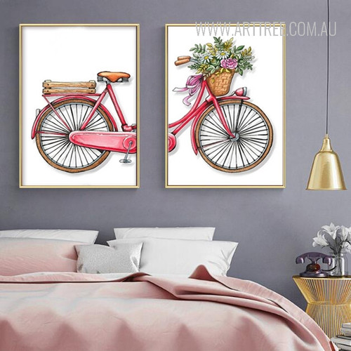 Romantic Bicycle Flowers Canvas Wall Art Prints