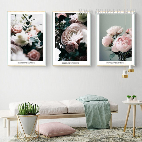 Pink Rose Flower Plants Decorative Painting Prints