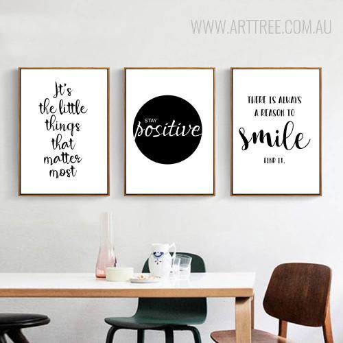 Be Positive Smile Motivational Life Quote Black White Canvas Art