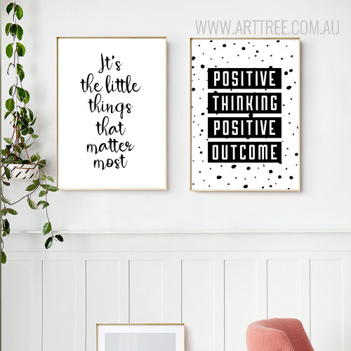 Positive Thinking Smile Motivational Life Quote Black White Canvas Art