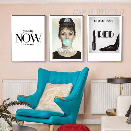 Yesterday Now Tomorrow British Actress Audrey Hepburn Le Rouge Baiser Art