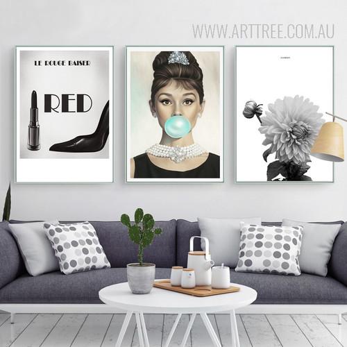 White Floral British Actress Audrey Hepburn Le Rouge Baiser Words Art