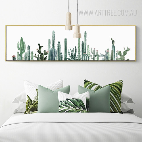 Green Panoramic Cactus Plant Canvas Print
