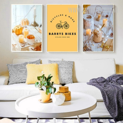 Modern Yellow Pumpkin Bicycle Home Decoration Wall Art