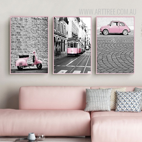 Modern City Pink Scooter Car Train Poster Canvas Prints