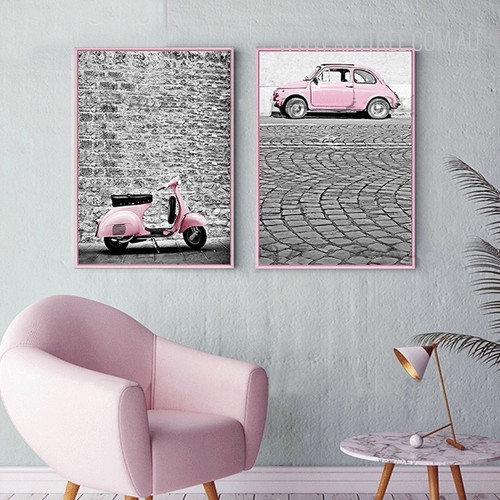 Modern City Pink Scooter Car Vintage Poster Canvas Print