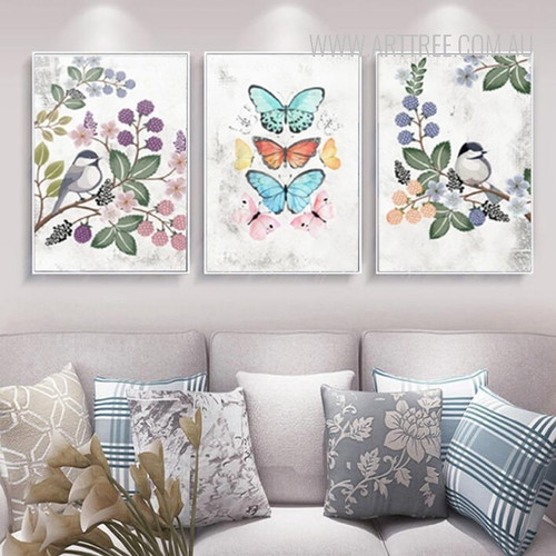 Vintage Flower Bird Butterfly Canvas Painting Wall Prints
