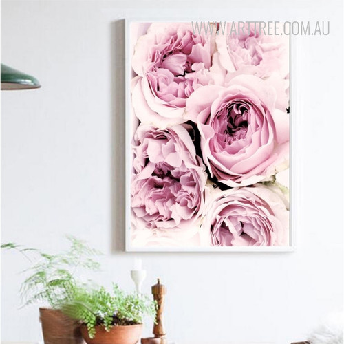 Romantic Pink Roses Flower Canvas Painting Print