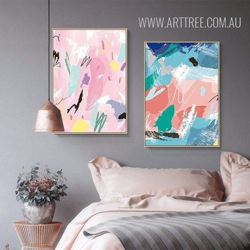 Abstract Multicolor Strokes Canvas Painting Prints