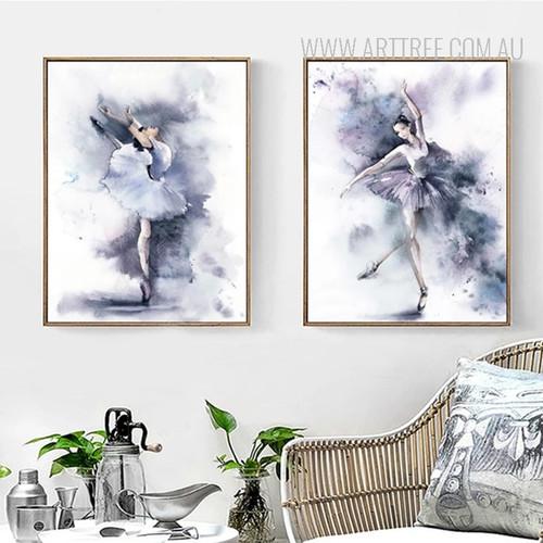 Modern Watercolor Ballet Dance Girl Poster Wall Art