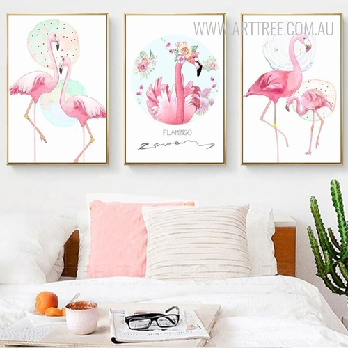 Pink Floral Flamingo Bird Canvas Painting Print Art