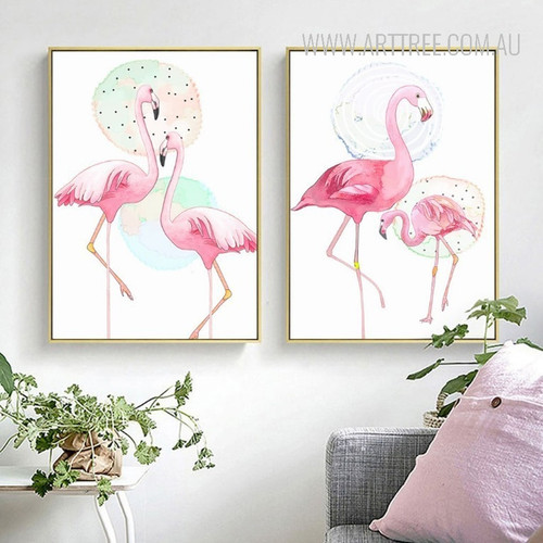 Pink Flamingo Bird Couple Canvas Wall Art