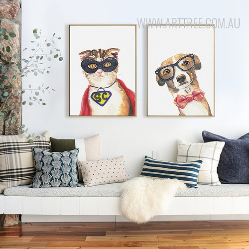 Cool Cat Dog Animal Poster Prints