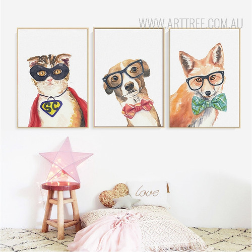 Cool Cat, Dog, Fox Animals Poster Prints