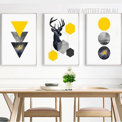 Geometric Triangles, Deer, Circles 3 Piece Canvas Prints