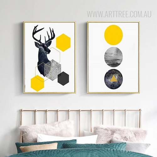 Geometric Deer Animal Circles 2 Piece Canvas Prints