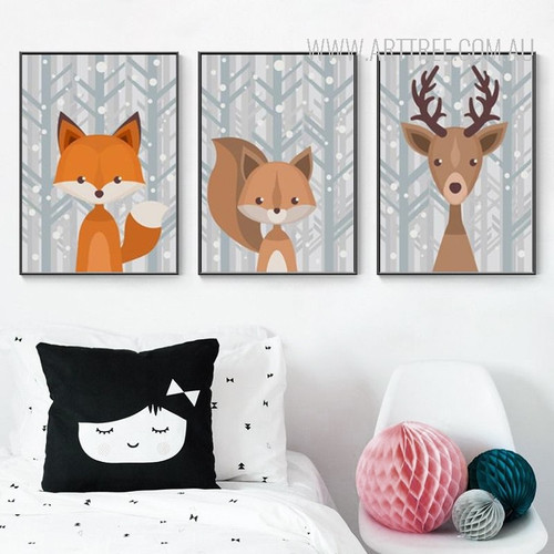 Woodland Fox Deer Animal Kids Wall Art