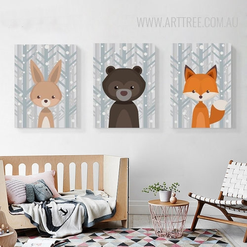 Rabbit Bear Woodland Fox Animals Kids Wall Art