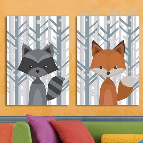Woodland Fox Animal Wall Art Prints