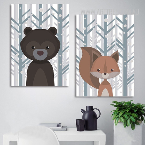 Bear Woodland Fox Animal Wall Art Prints