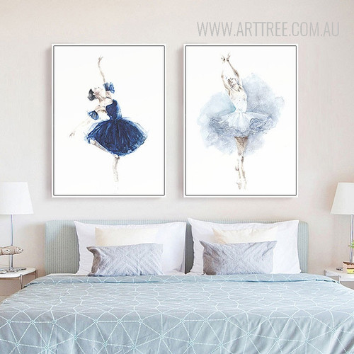 Watercolor Ballet Dancing Girls Wall Art Prints