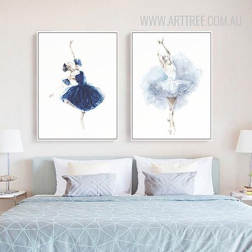 Watercolor Ballet Dancing Girls Wall Art Prints
