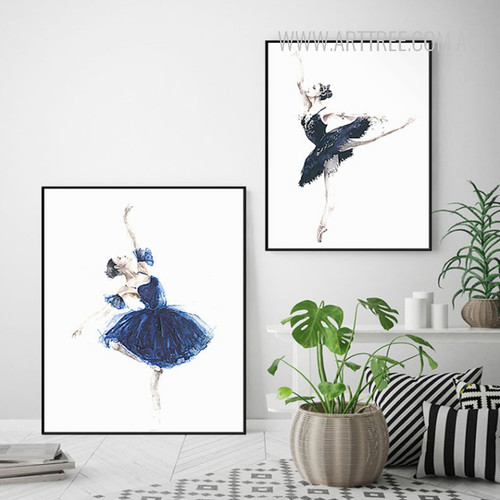 Watercolor Blue Dress Ballet Dancing Girls Wall Art Prints
