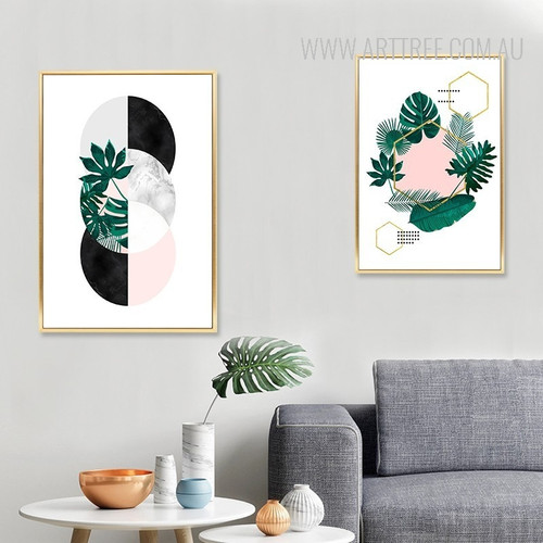 Nordic Scandinavian Plant Leaf Geometric Canvas Painting Prints