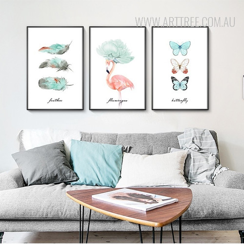 Butterfly Feather Flamingo Watercolor Art Canvas Prints