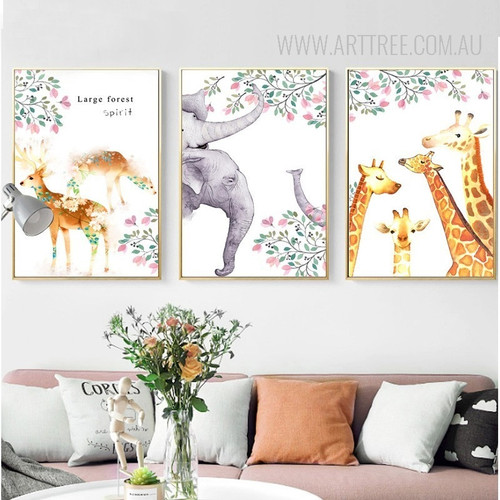 Large Forest Spirit Deer Giraffe Elephant Animals Leaf Poster Art