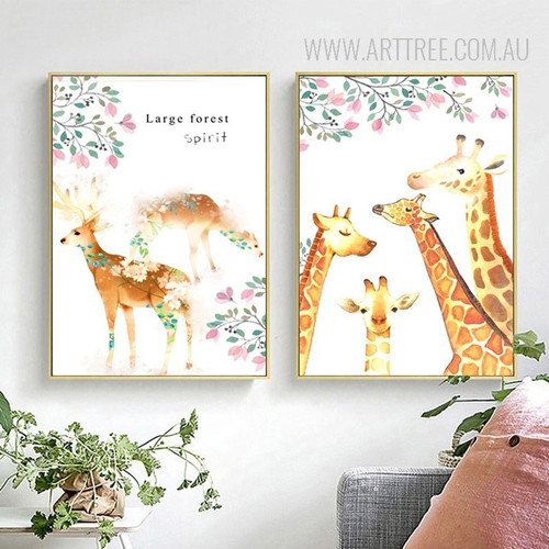 Large Forest Spirit Deer Giraffe Animals Leaf Poster Canvas Prints