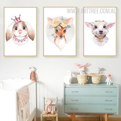 Kawaii King Rabbit Floral Deer Goat Animal Nursery Wall Art