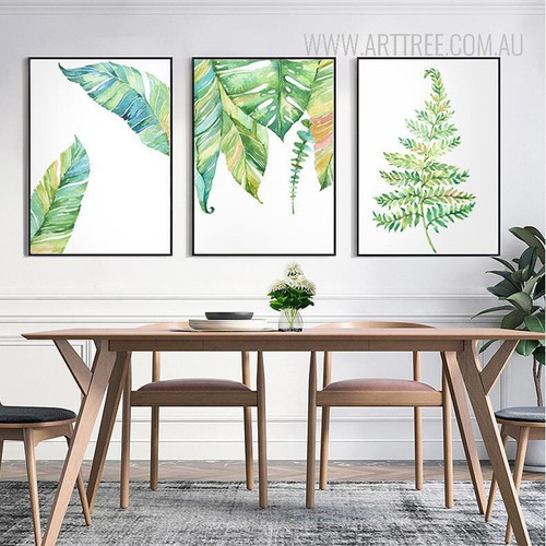 Modern Blue Green Leaf Plant Art Prints