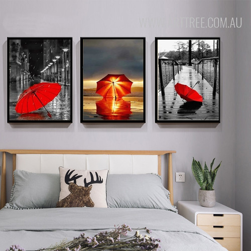Red Umbrella in City Bedroom Decor Canvas Prints
