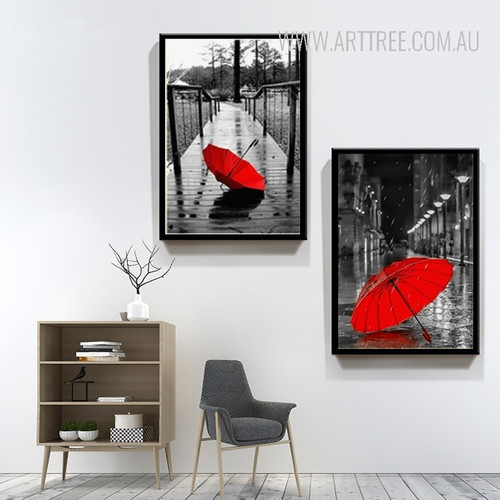 Red Umbrella in City 2 Piece Canvas Prints