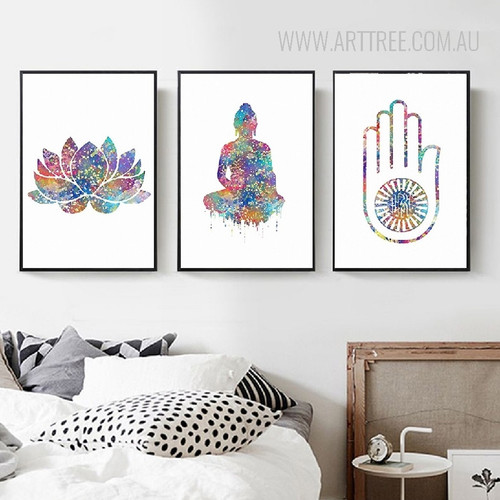 Indian Modern Lotus Buddha Yoga Pattern Home Decoration Wall Art