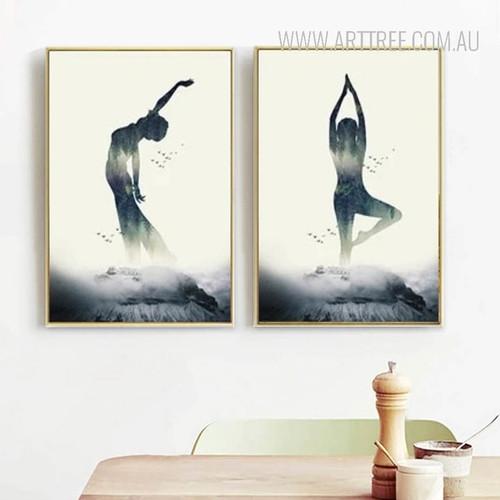 Abstract Lady Yoga Postures Digital Art Prints
