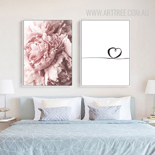 Romantic Pink Peony Wired Heart Canvas Prints
