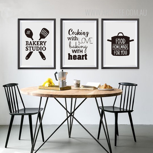 Black and White Cooking Words Canvas Painting Prints