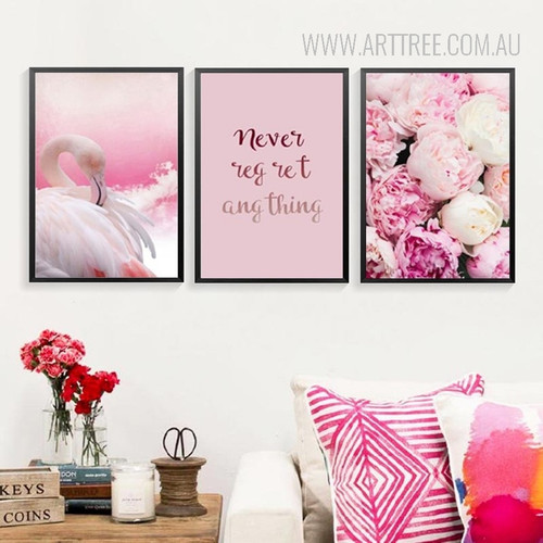 Pink Flamingo Bird Never Regret Anything Peony Flowers Canvas Prints