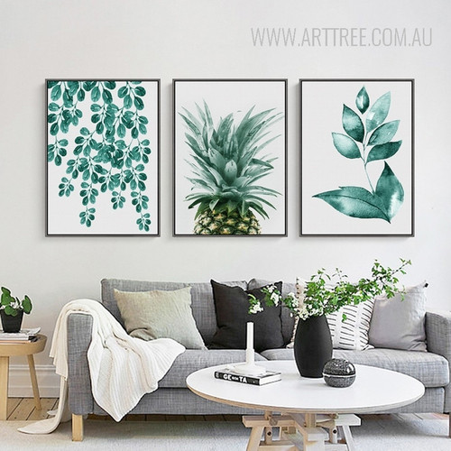 Refreshing Green Leaves Pineapple 3 Piece Canvas Prints